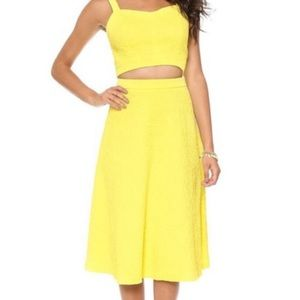 J.O.A. Revolve Textured Midi A-Line Yellow Skirt